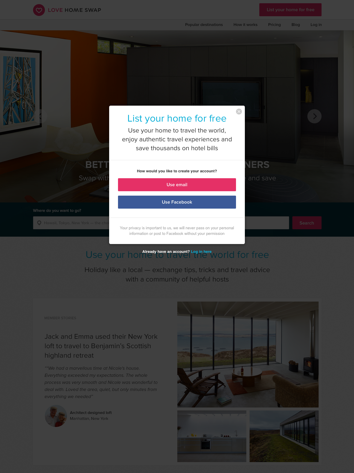 Love Home Swap - Onboarding join page