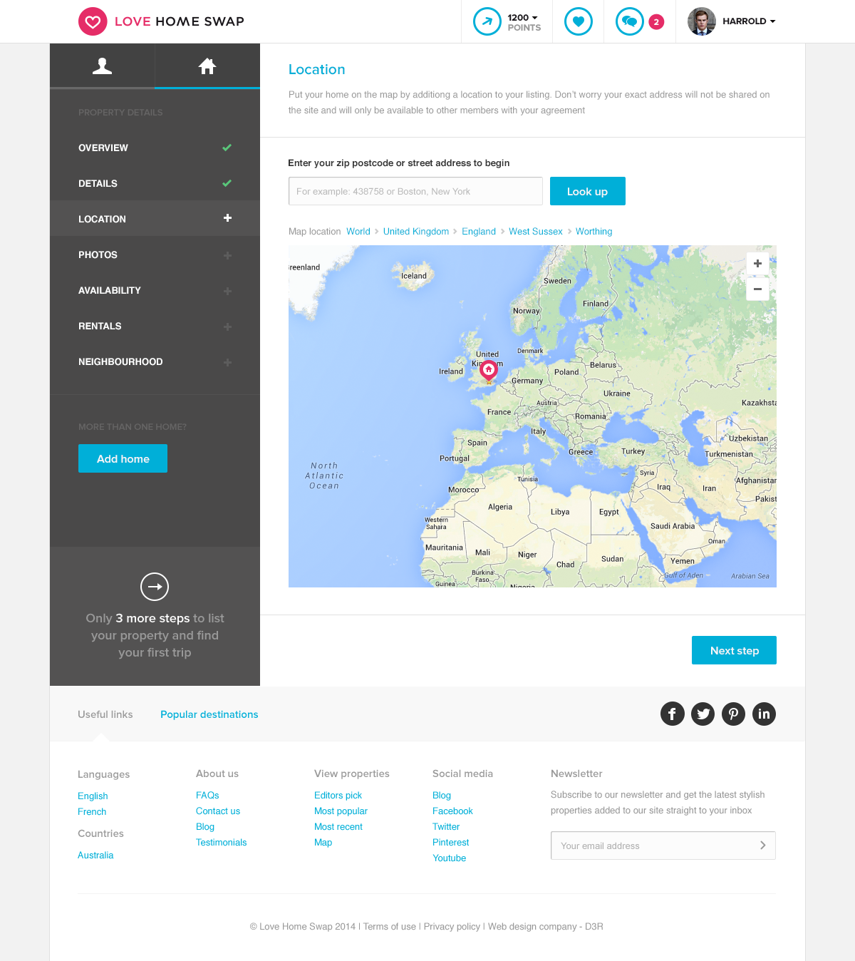 Love Home Swap - Onboarding location page