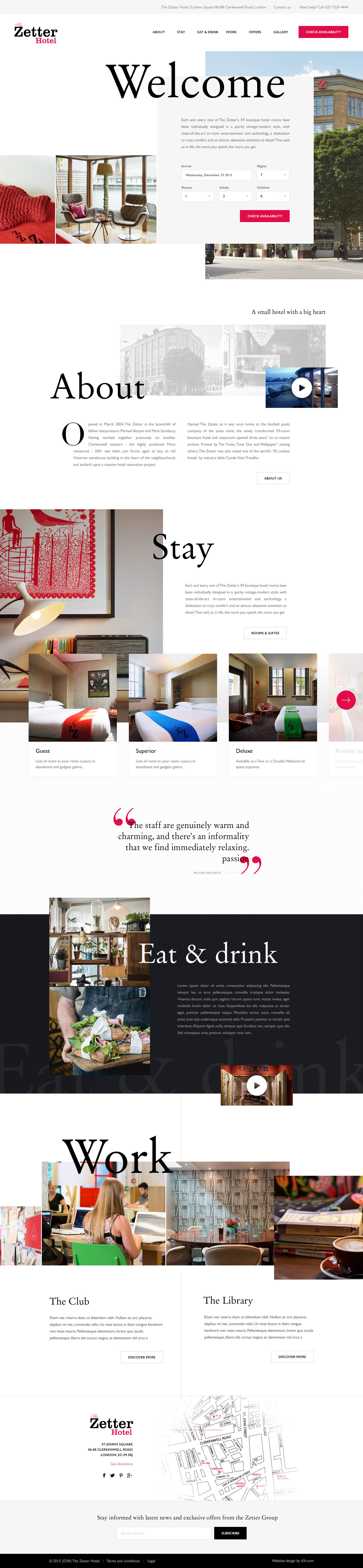 The Zetter Hotel - Homepage pitch